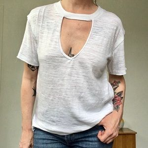 Lucky Brand NWT White Burnout Short Sleeve Tee